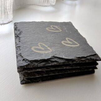 Personalised coasters with hearts on