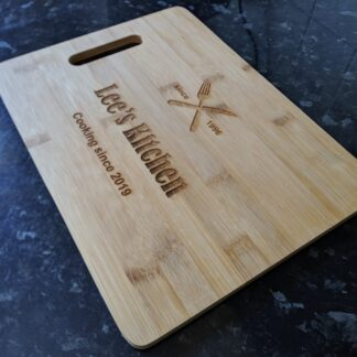 Bamboo chopping board on counter top