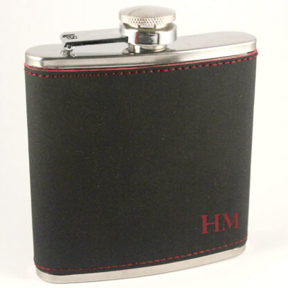 Black PU leather with Red engraving Stainless Steel Hip Flask