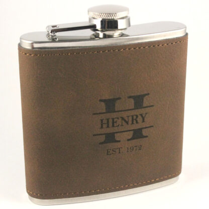 Brown PU leather with Black engraving Stainless Steel Hip Flask