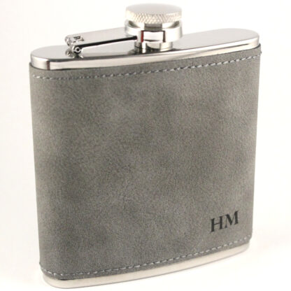 Grey PU leather with Black engraving Stainless Steel Hip Flask