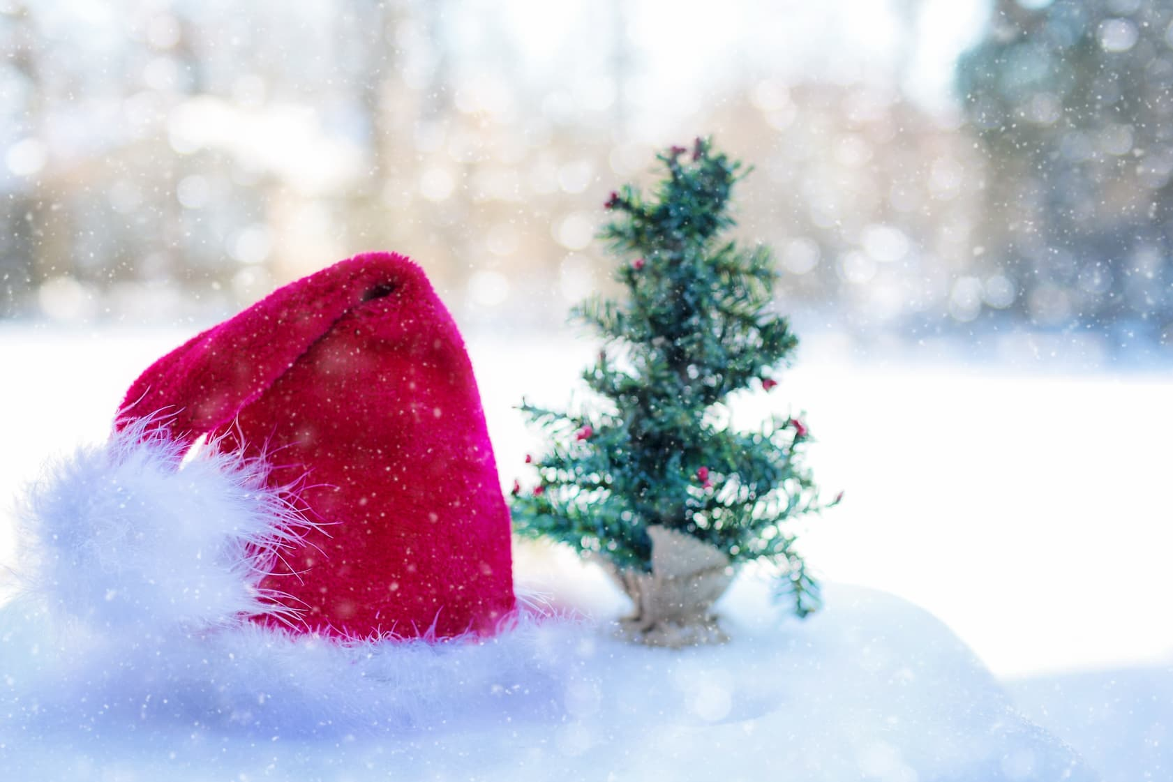 Santa hat and small Christmas in a snowy setting
