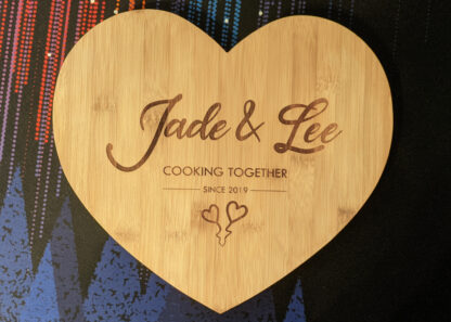 Top down photo of the heart chopping board.