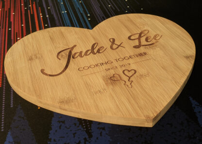 Side view angle of the heart chopping board.