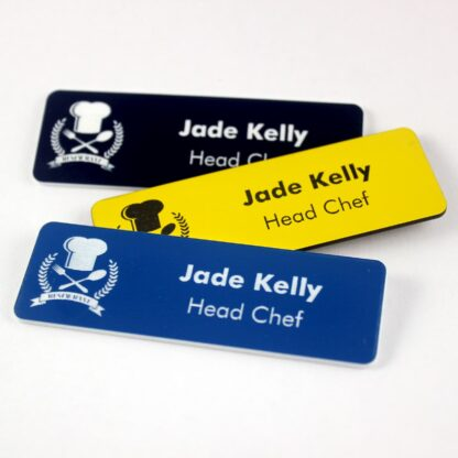 Restaurant and food service name badges