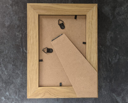 Rear of picture frame showing the hanging/standing capabilities